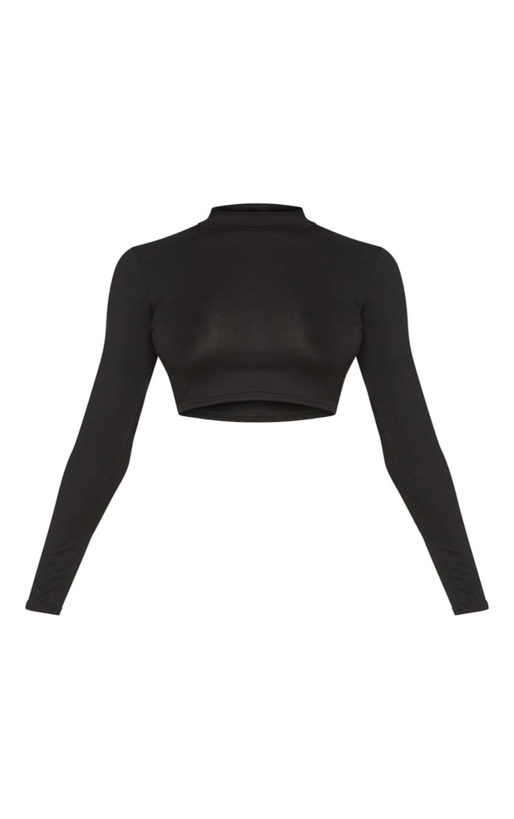 Tall Black  Long Sleeved High Neck Crop Top  3