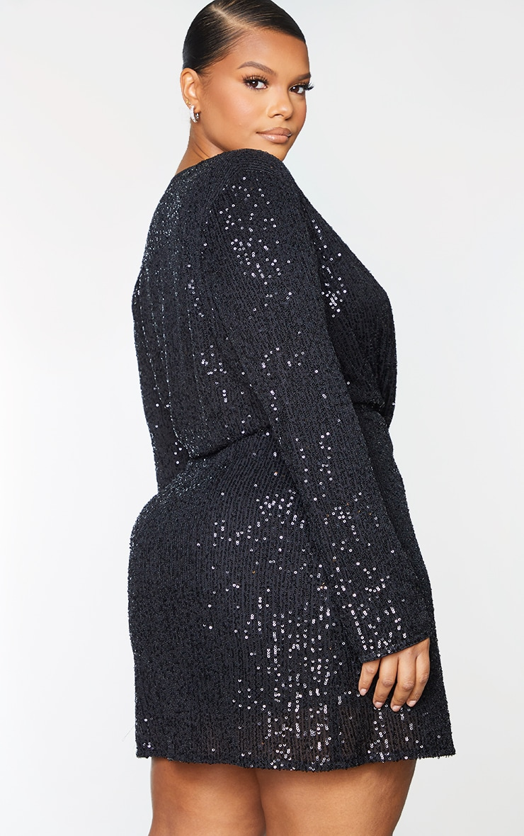 Plus Black Sequin Long Sleeve Wrap Dress 2