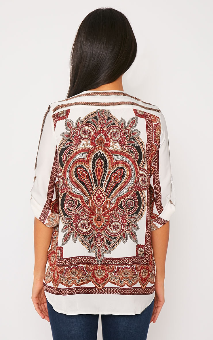Mallory Cream Paisley Print Zip Front Top 2