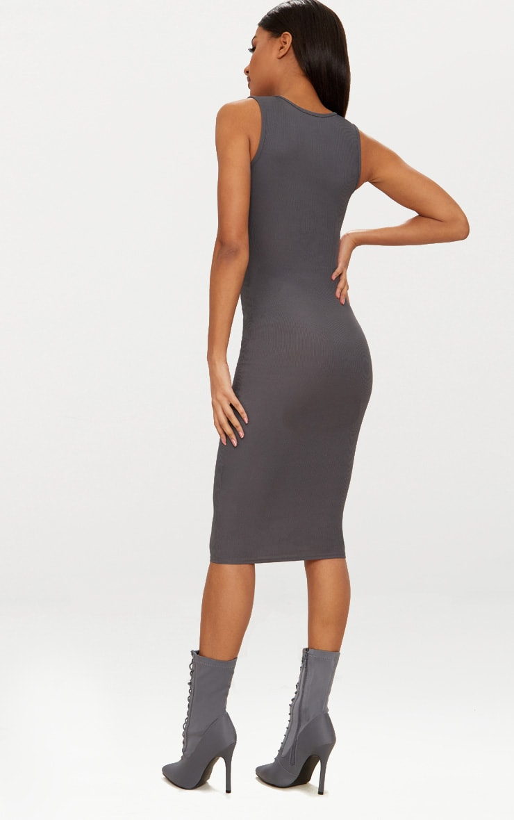 Basic Charcoal Grey Ribbed Neck Midi Dress 2