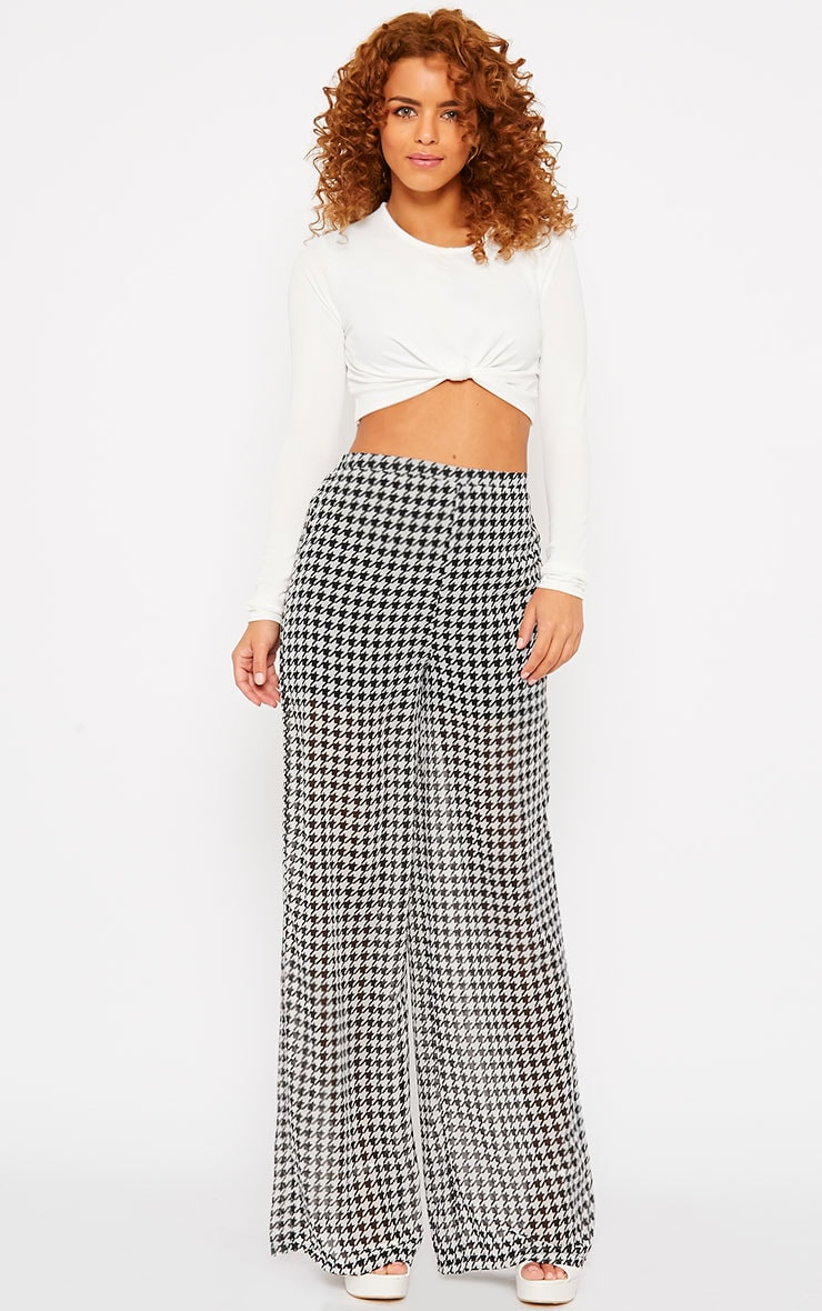 Paola Monochrome Dogtooth Sheer Palazzo Trousers 5