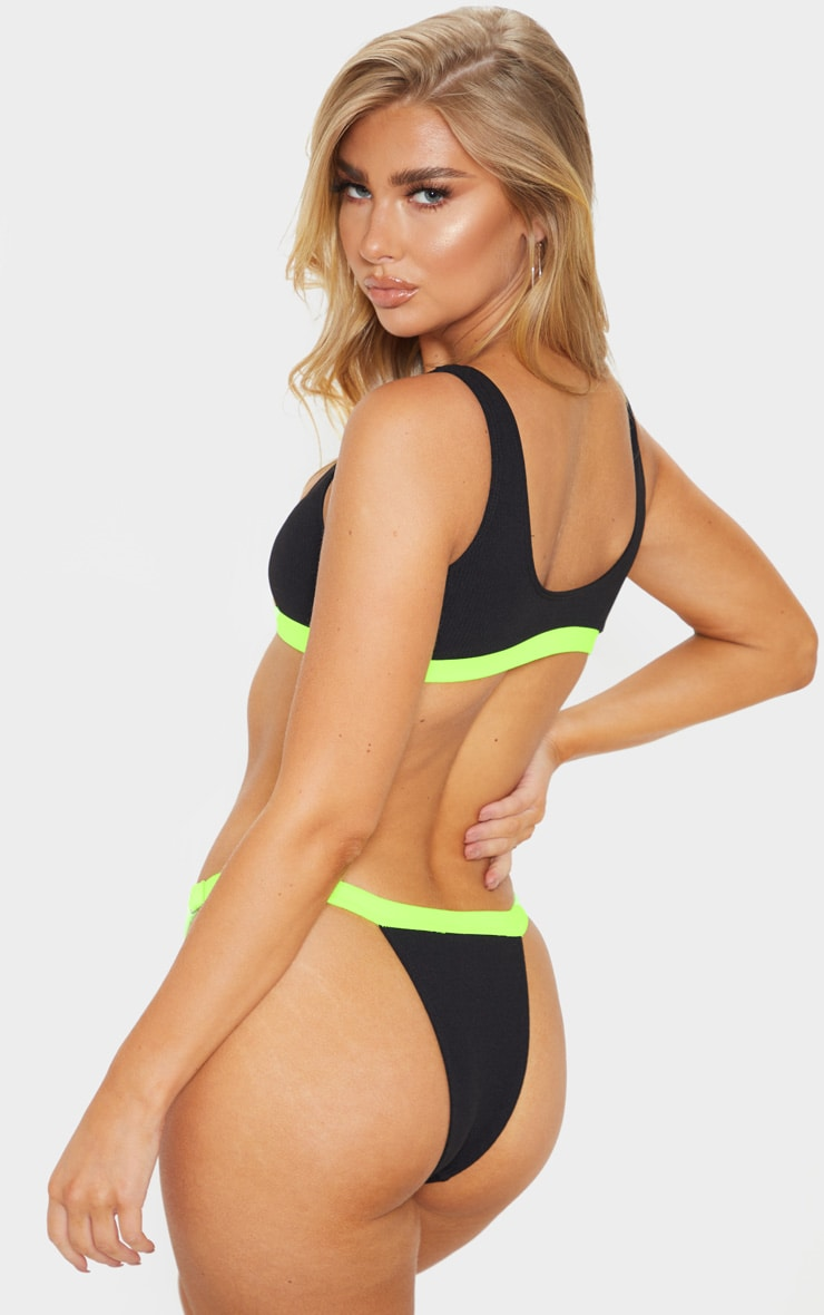 Lime Ribbed Zip Front Contrast Bikini Top 2