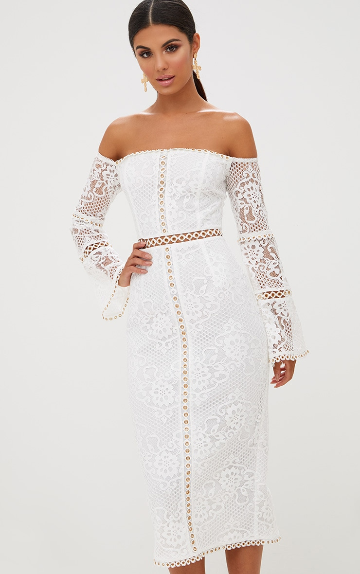 White Lace Eyelet Detail Bardot Midi Dress 2
