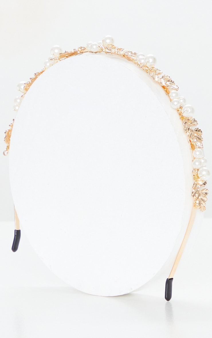 Gold Leaf White Pearl Headband 2