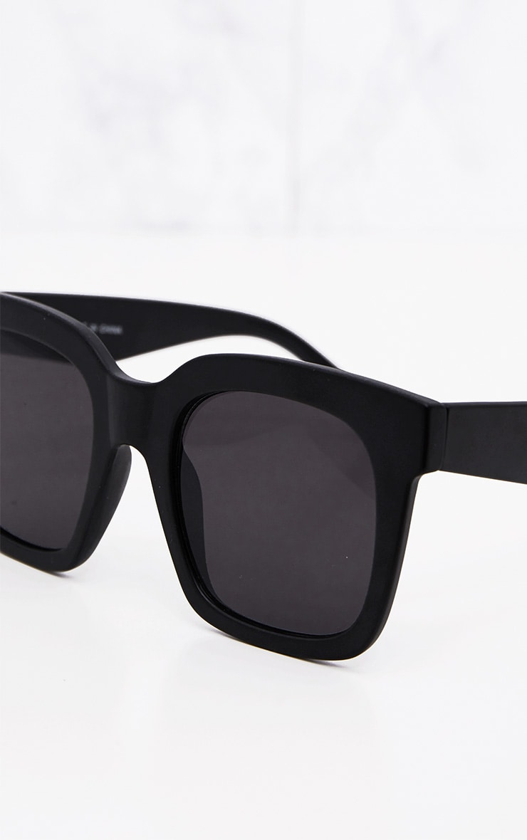 Matte Black Oversized Square Sunglasses 5