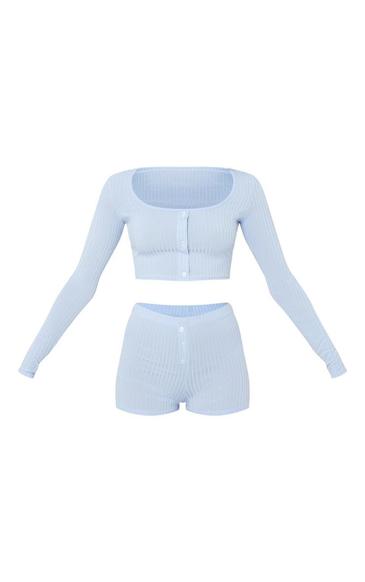 Baby Blue Rib Long Sleeve Crop And Boxer Shorts PJ Set 5