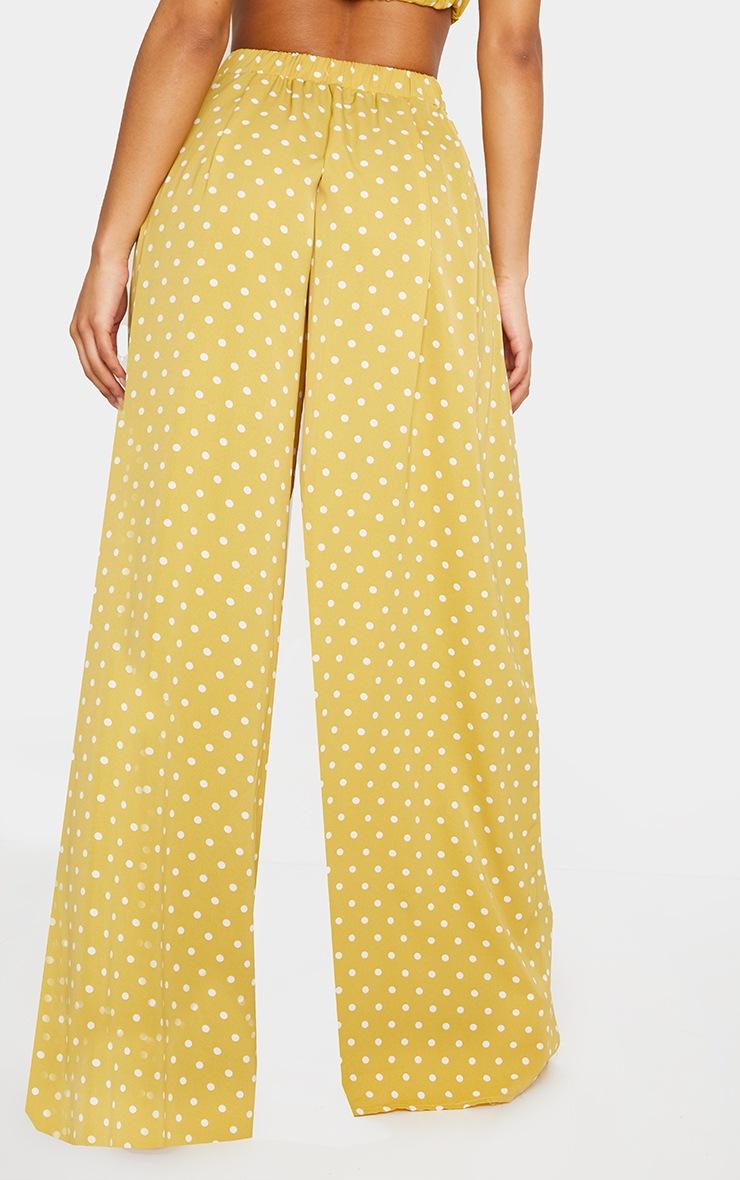 Mustard Polka Dot Print Wide Leg Pants 3