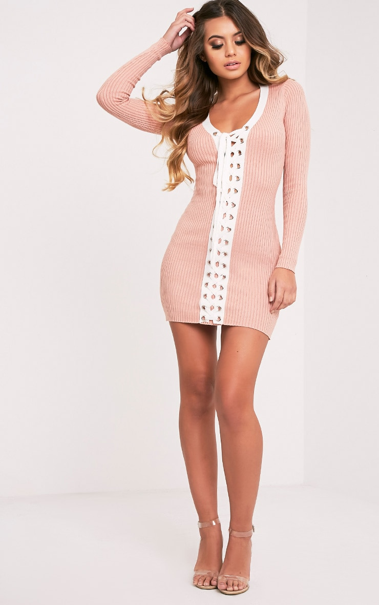 Pandra Nude Knitted Tie Ribbed Mini Dress 5