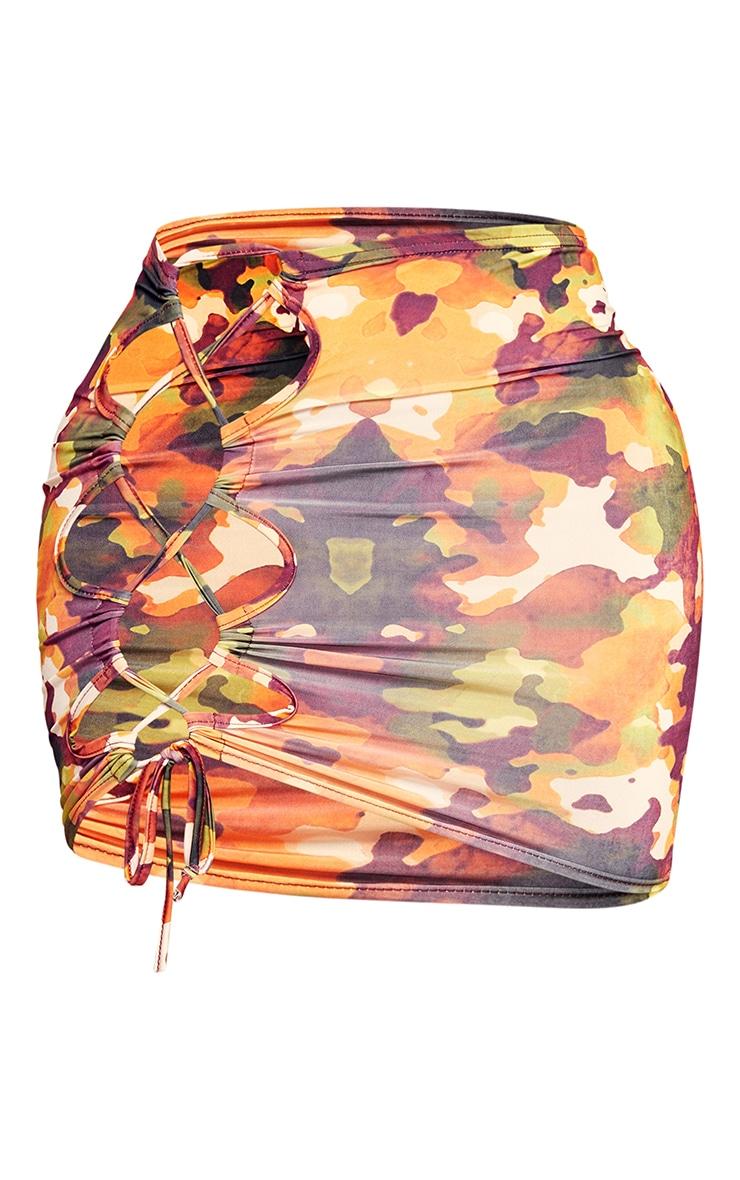 Shape Orange Camo Print Slinky Lace Up Side Bodycon Skirt 6