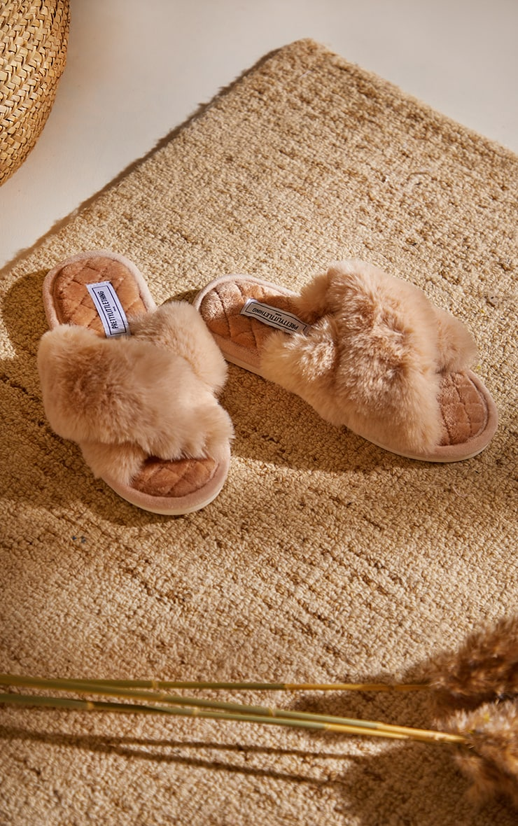 PRETTYLITTLETHING Home Stone Fluffy Cross Strap Quilted Sole Slippers 2
