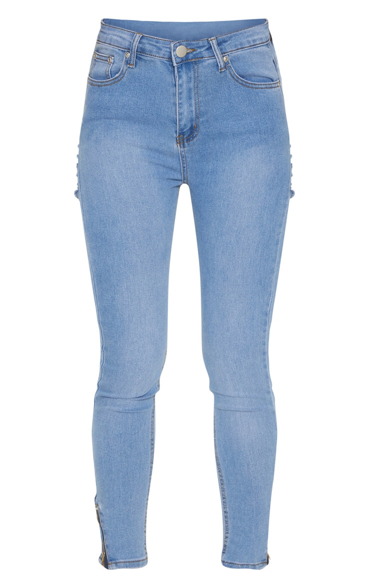 Mid Wash Distressed Bum Rip High Waisted Skinny Jean 3