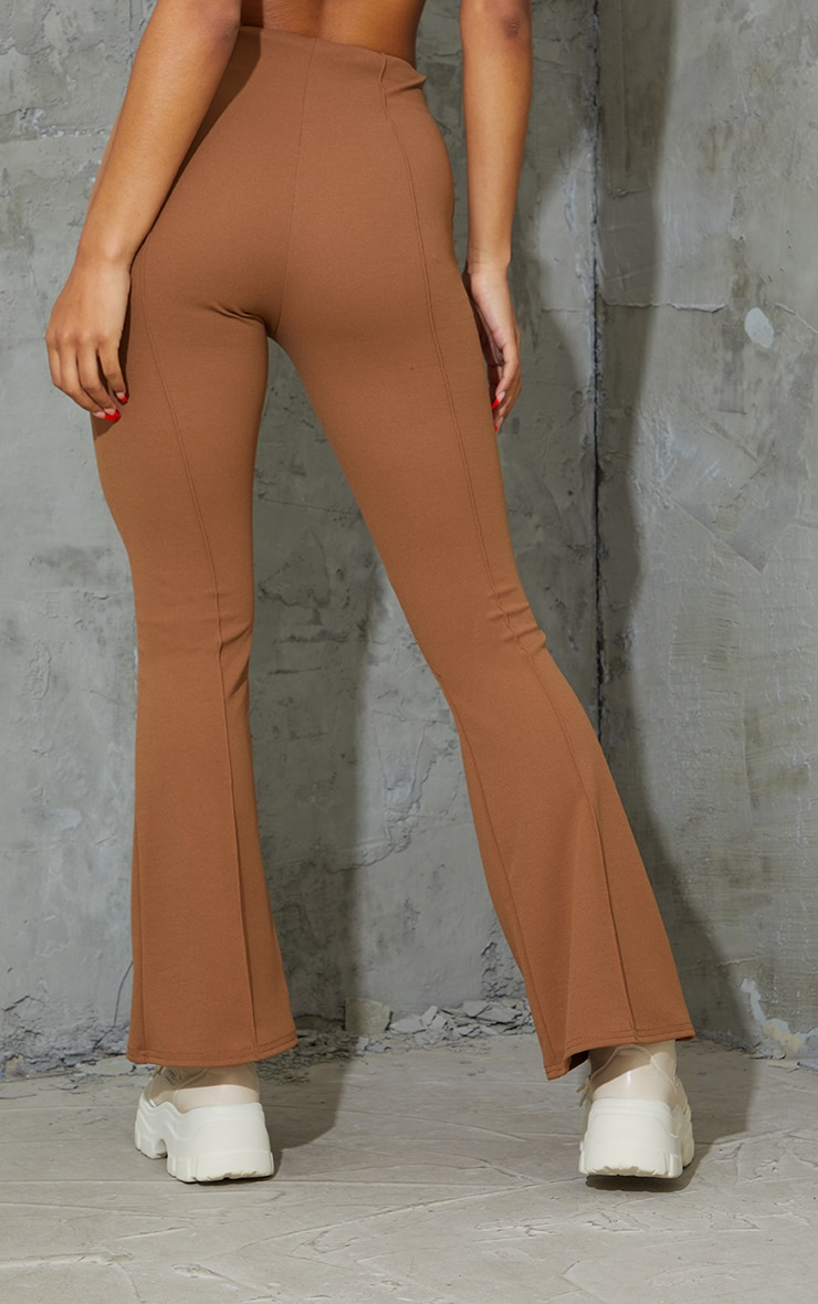 Camel Pintuck Detail Flared Trousers 3