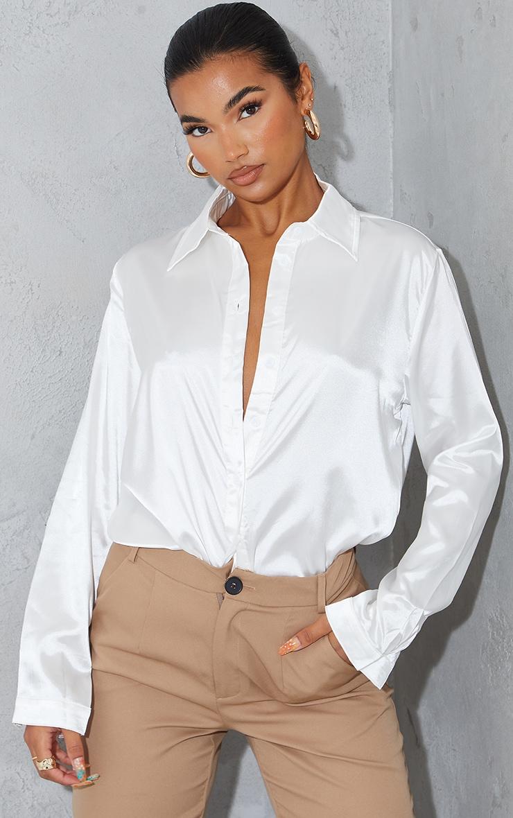 White Satin Button Front Shirt 1