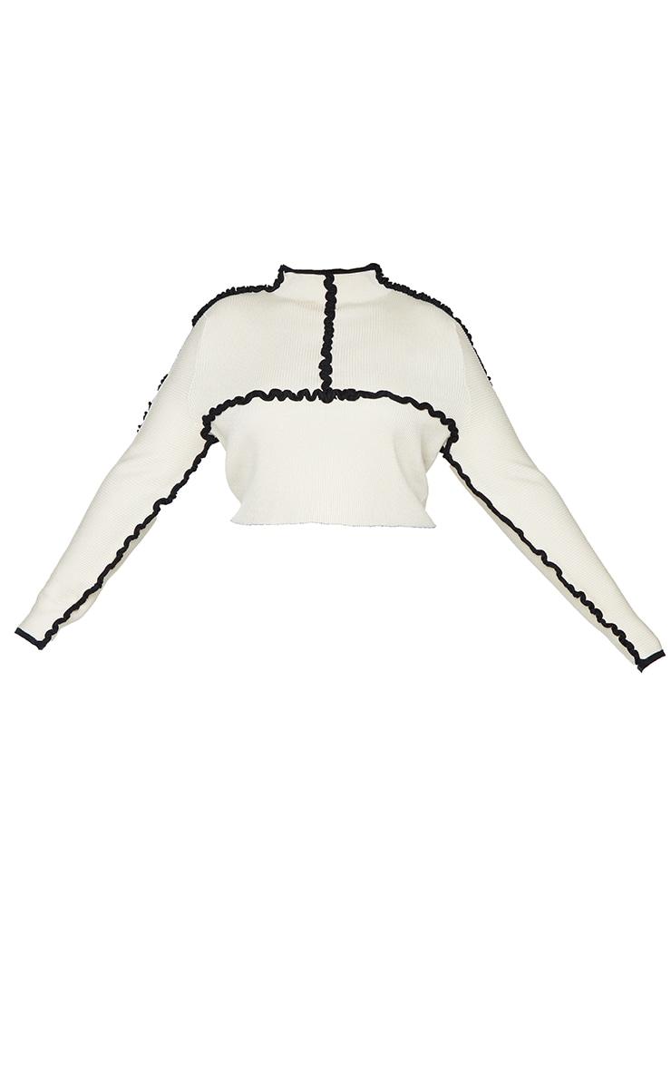 Plus Cream Contrast Stitch Detail Boxy Crop Jumper 5