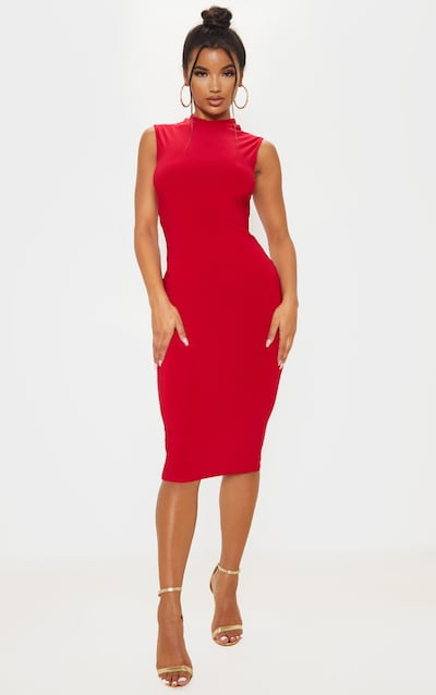 Red Slinky Cross Back Detail High Neck Midi Dress