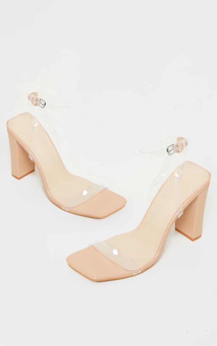 Nude Flat Block Heel Square Toe Clear Strap Sandal 3