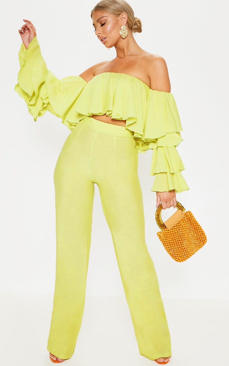 Lime Woven High Waisted Wide Leg Pants 1