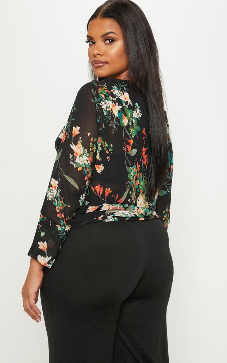 Plus Black Floral Chiffon Blouse 2