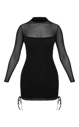 bc51ee55858 Nera Black Mesh High Neck Bodycon Dress image 3