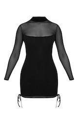 bc51ee55858 Nera Black Mesh High Neck Bodycon Dress image 3