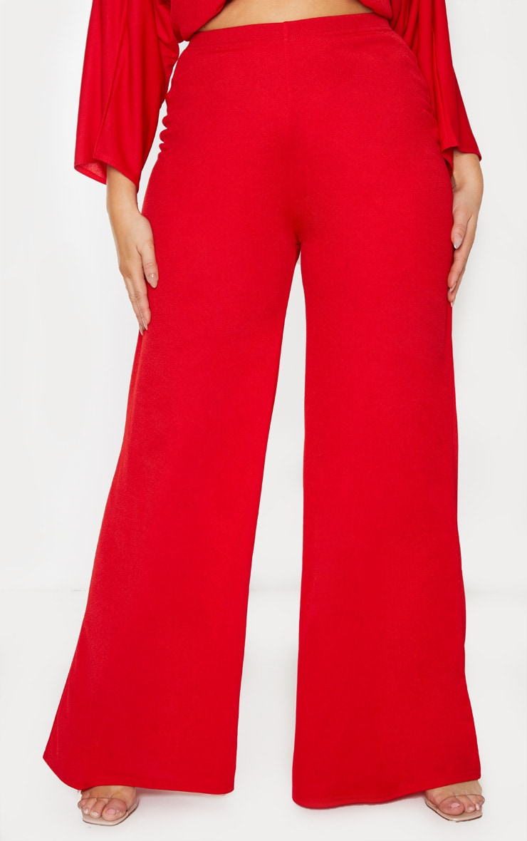 Plus Red Crepe Wide Leg Pants 4