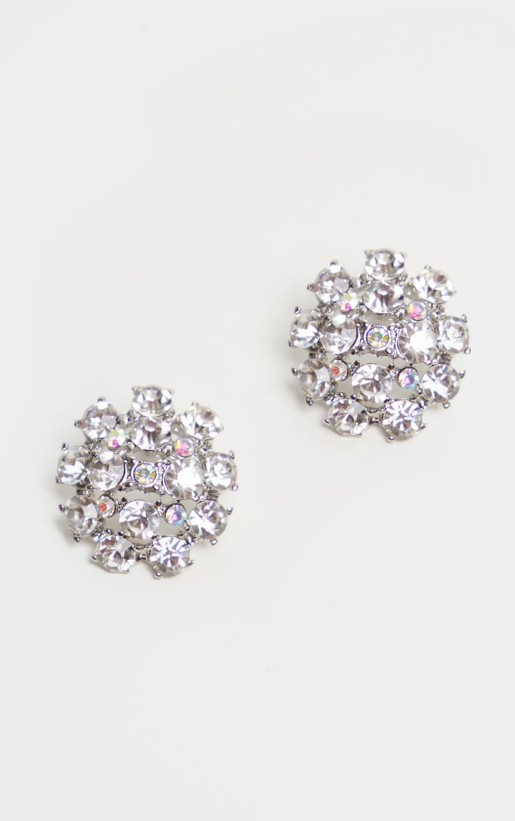 Silver Crystal Large Stud Earrings 2