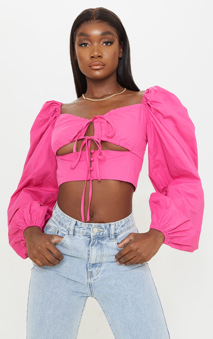 Tall Hot Pink Cut Out Tie Front Bardot Cropped Blouse 1