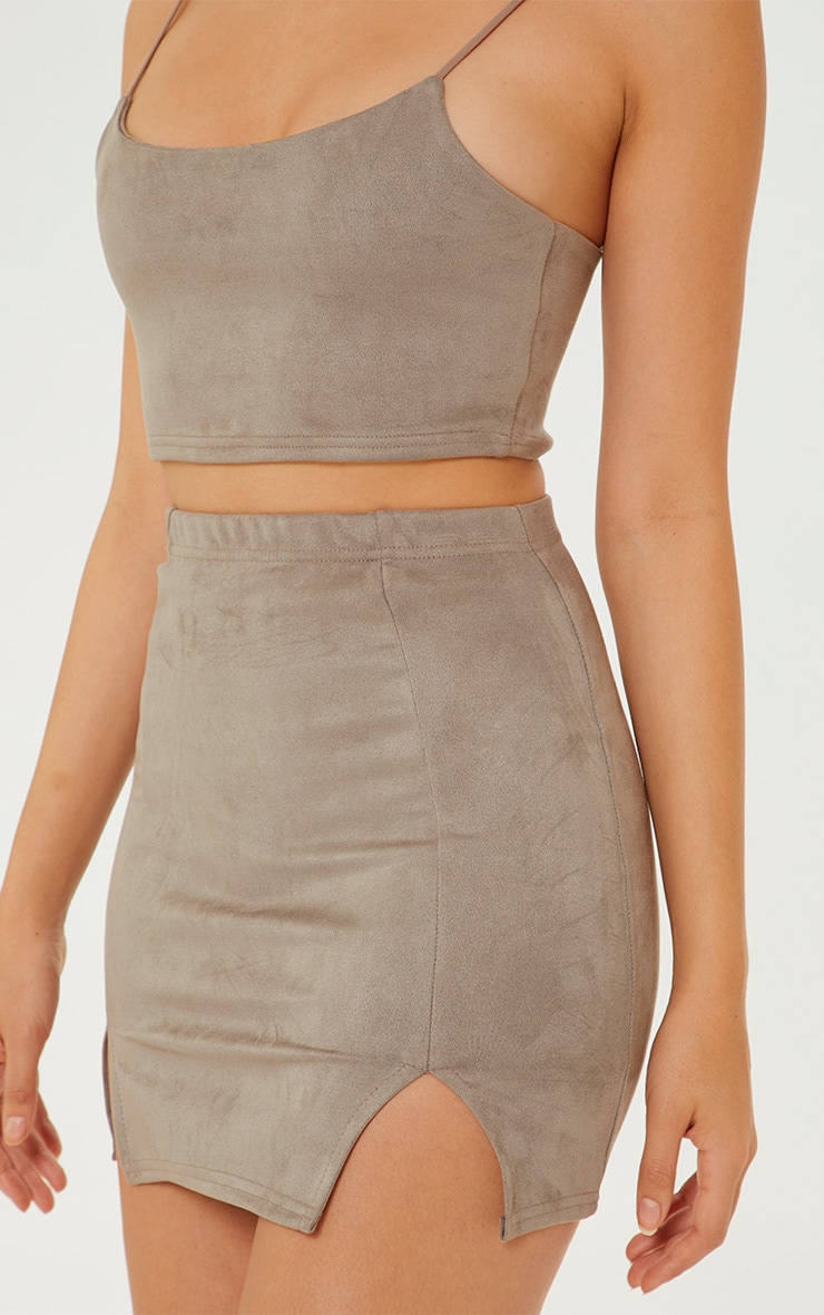 Grey Faux Suede Crop Top 5