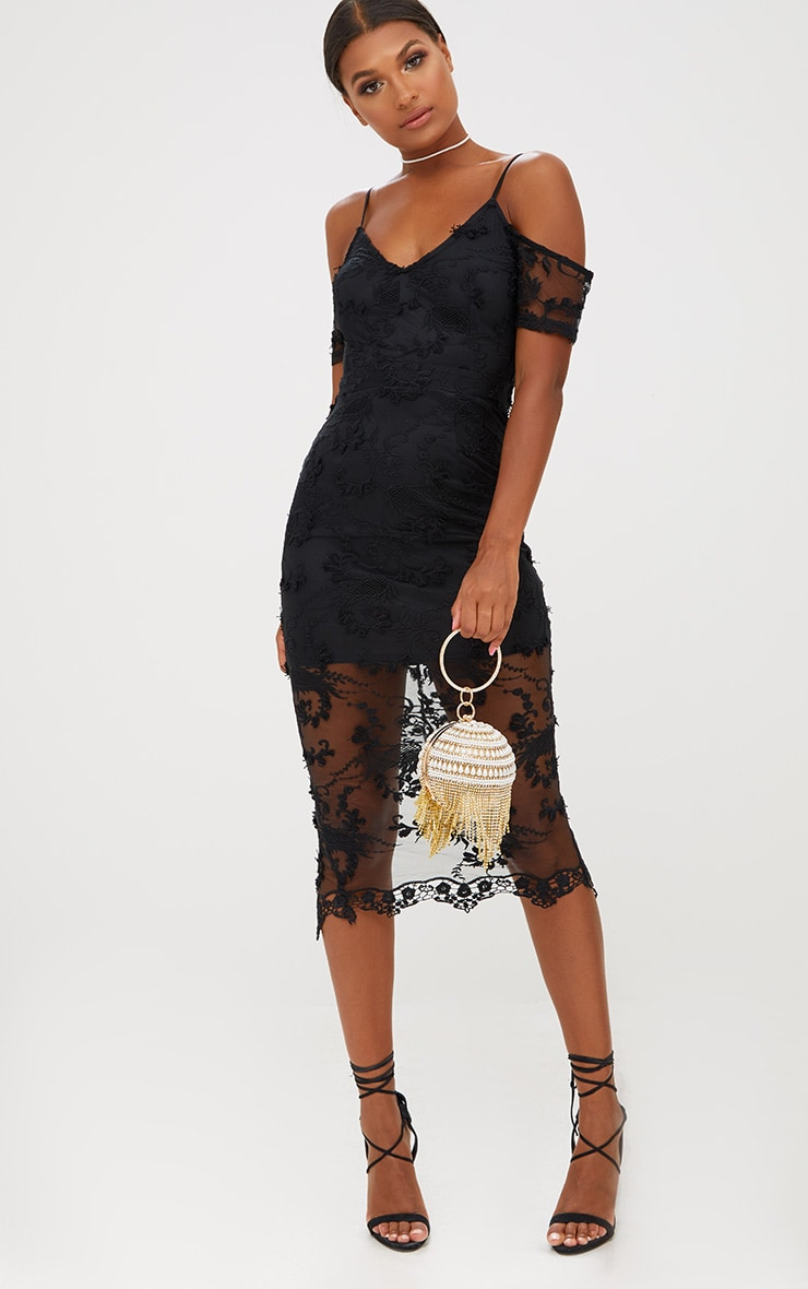 Black Embroidered Lace Cold Shoulder Midi Dress 4