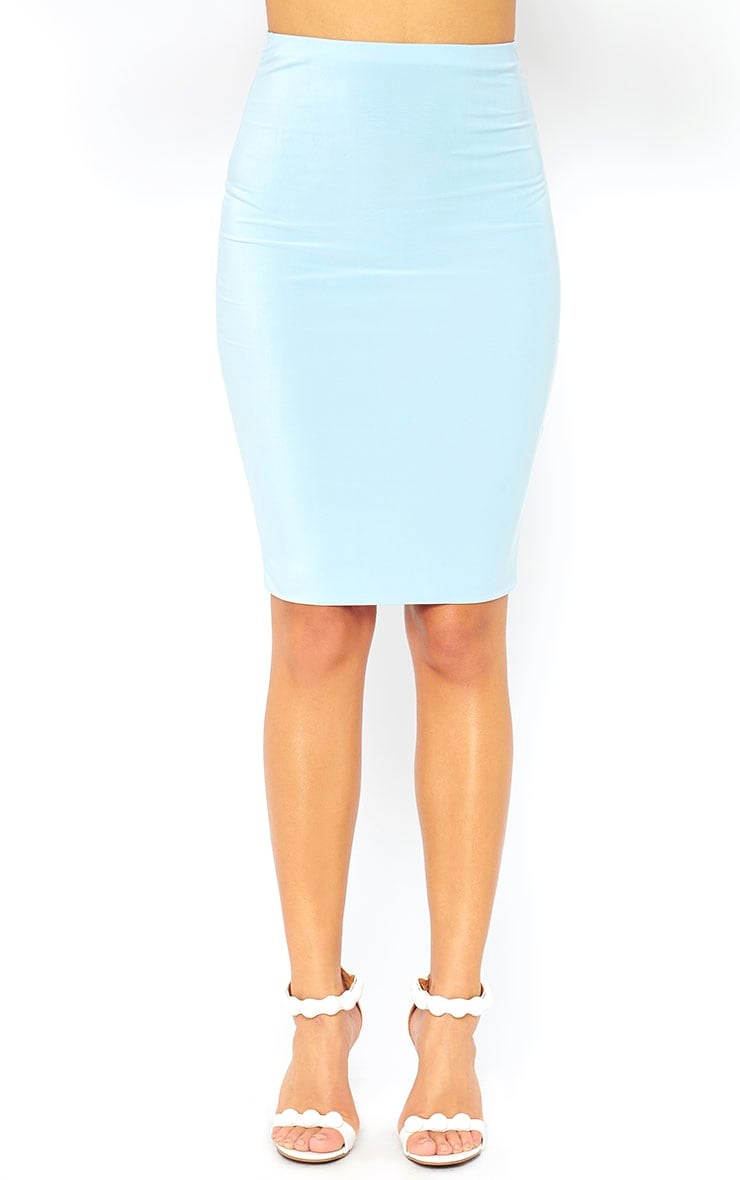Arabella Powder Blue Slinky Midi Skirt 2