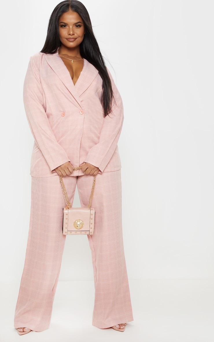 Plus Dusty Pink Check Suit Pants 1