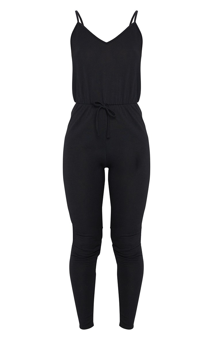 Black Strappy Tie Waist Lounge Jumpsuit 5