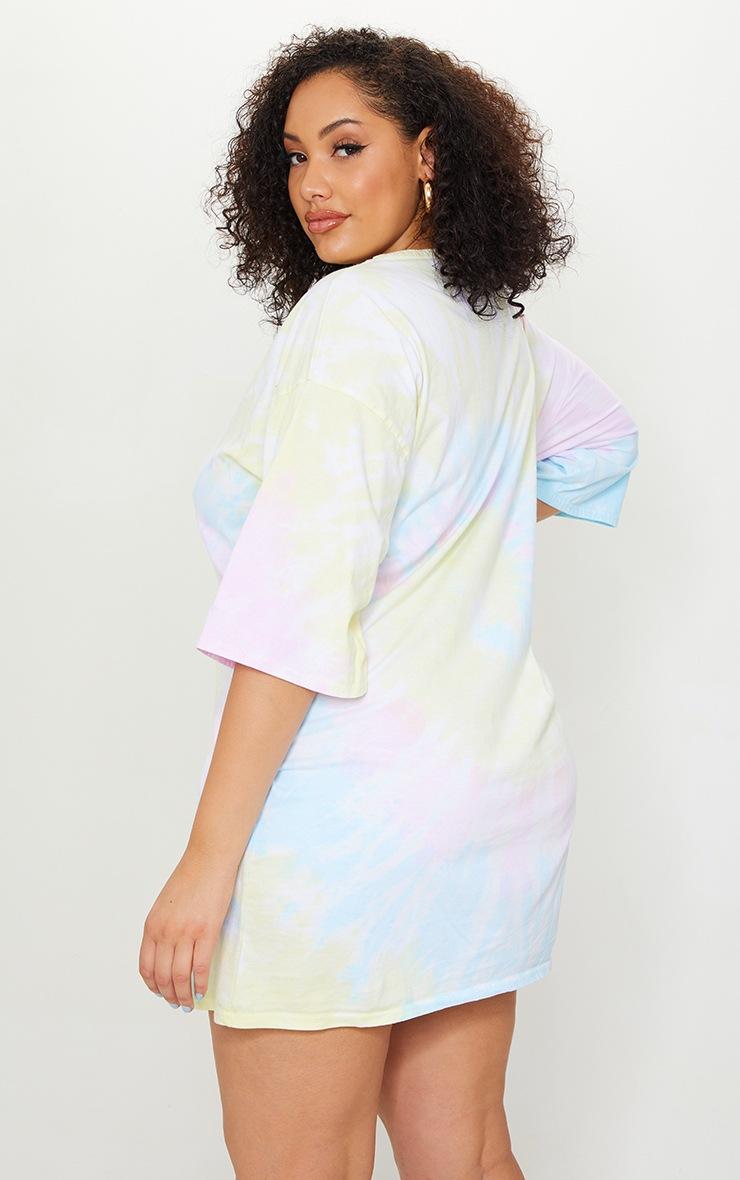Plus Multi Tie Dye T Shirt Boyfriend Dress 2