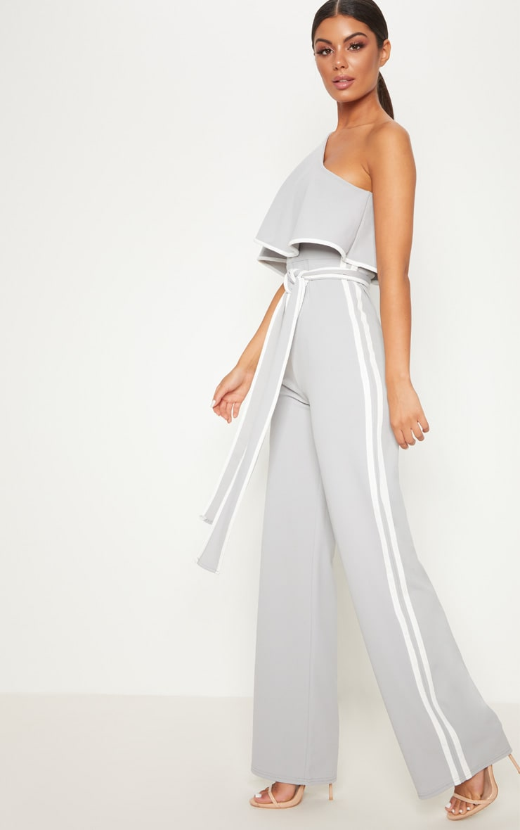 Grey One Shoulder Contrast Binding Jumpsuit 4