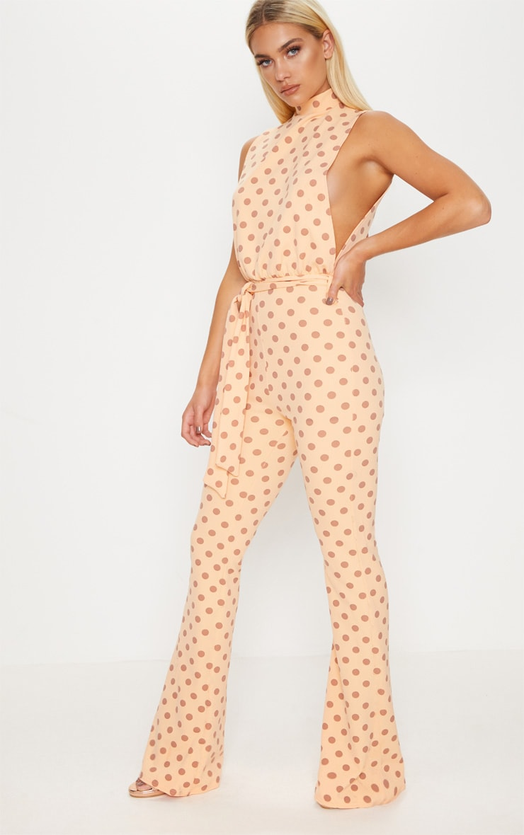 Tangerine Polka Dot Scuba High Neck Tie Waist Jumpsuit
