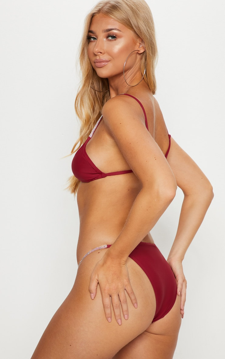 Burgundy Diamante Strap Bikini Top 2