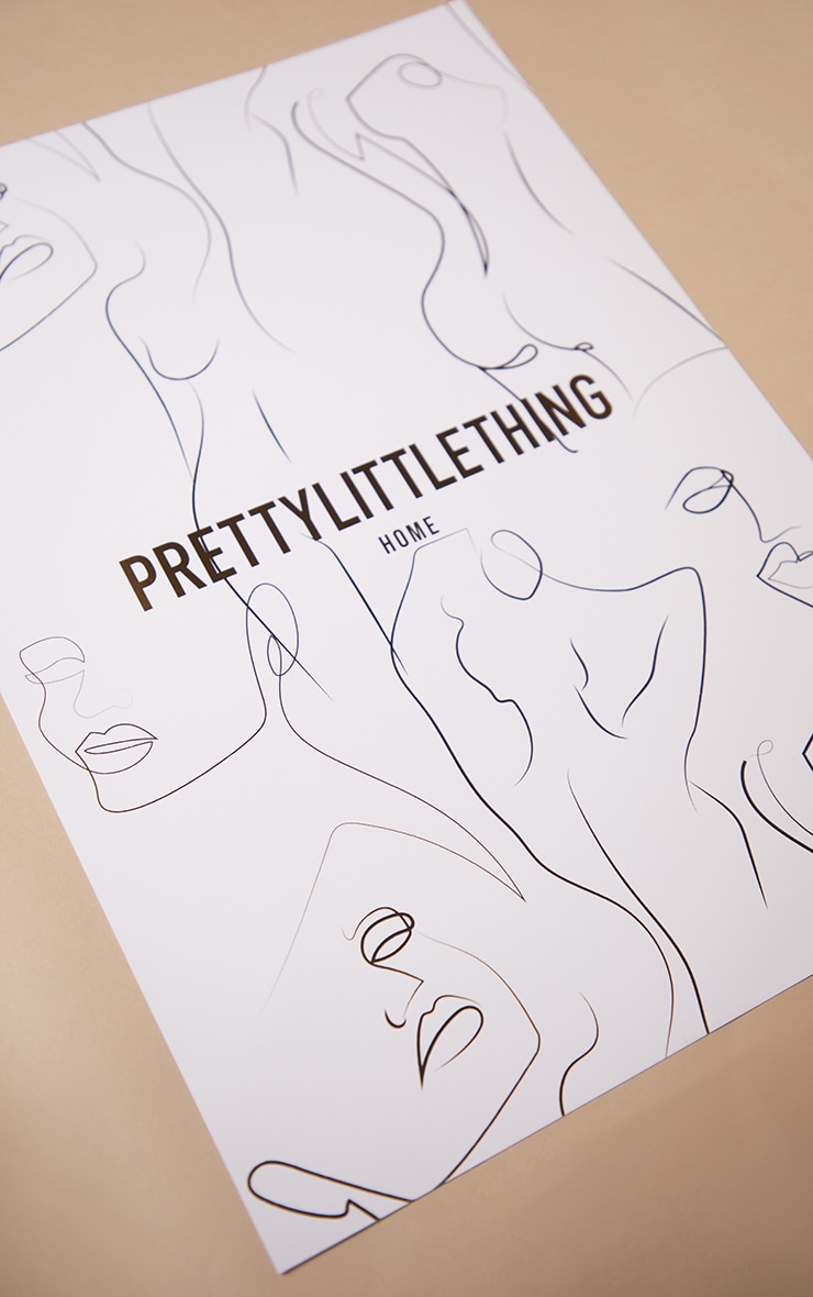 PRETTYLITTLETHING Gold A3 Abstract Body Print 4