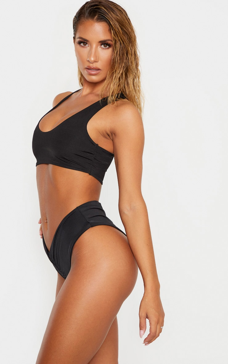 Black Mix & Match Ruched Bum V Front Bikini Bottom 2