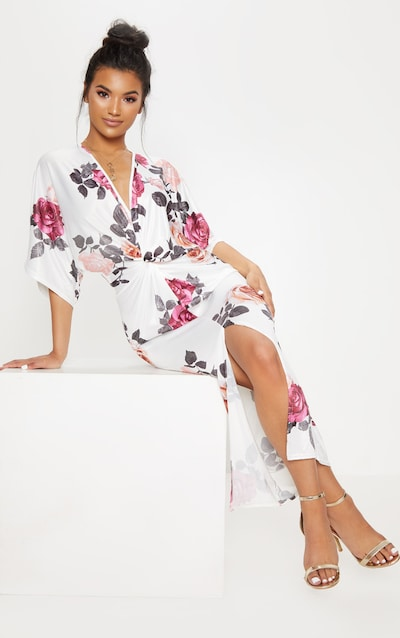 White Fl Print Twist Front Batwing Sleeve Midi Dress