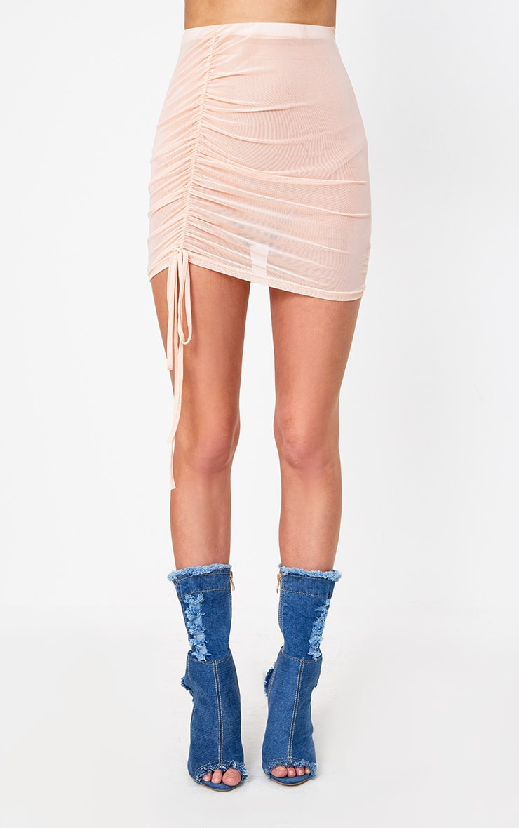 Nude Side Ruche Mesh Mini Skirt 2