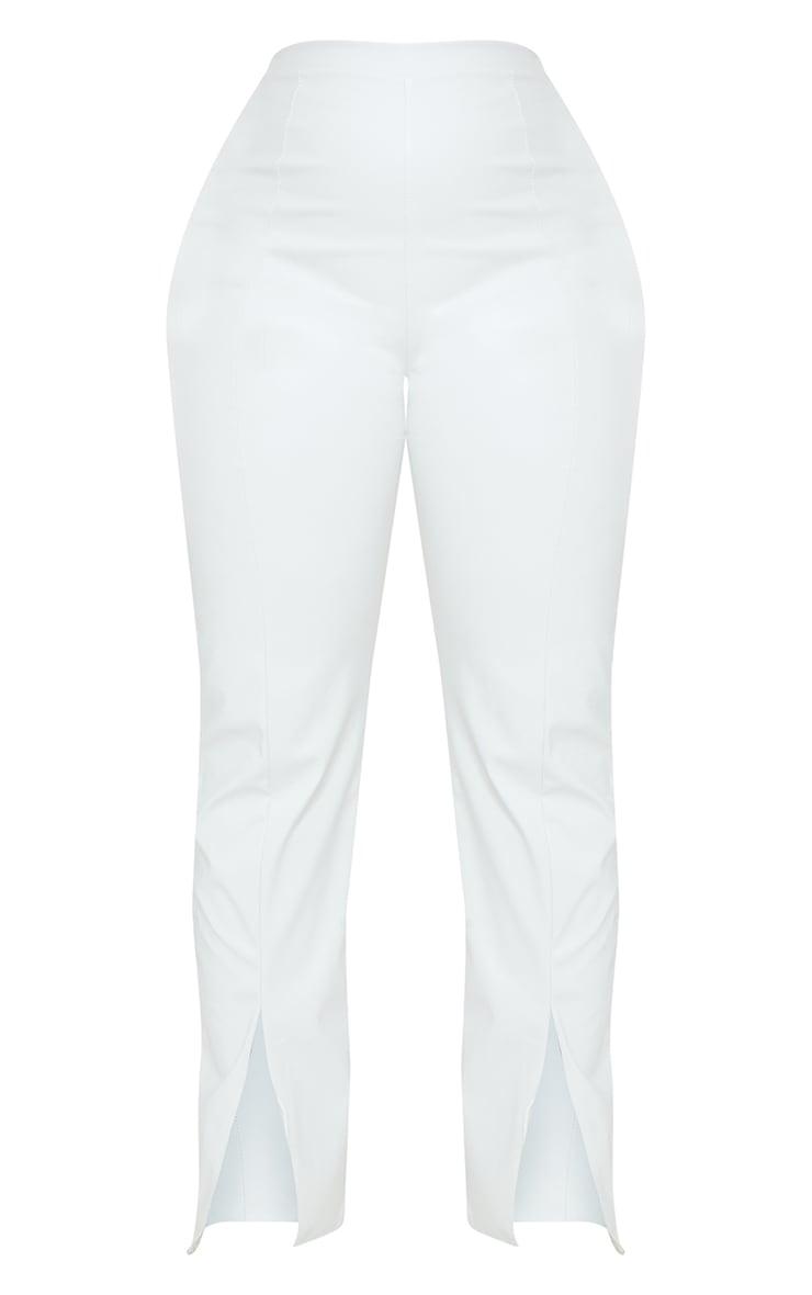 Plus Cream Faux Leather Seam Detail Split Hem Trousers 5
