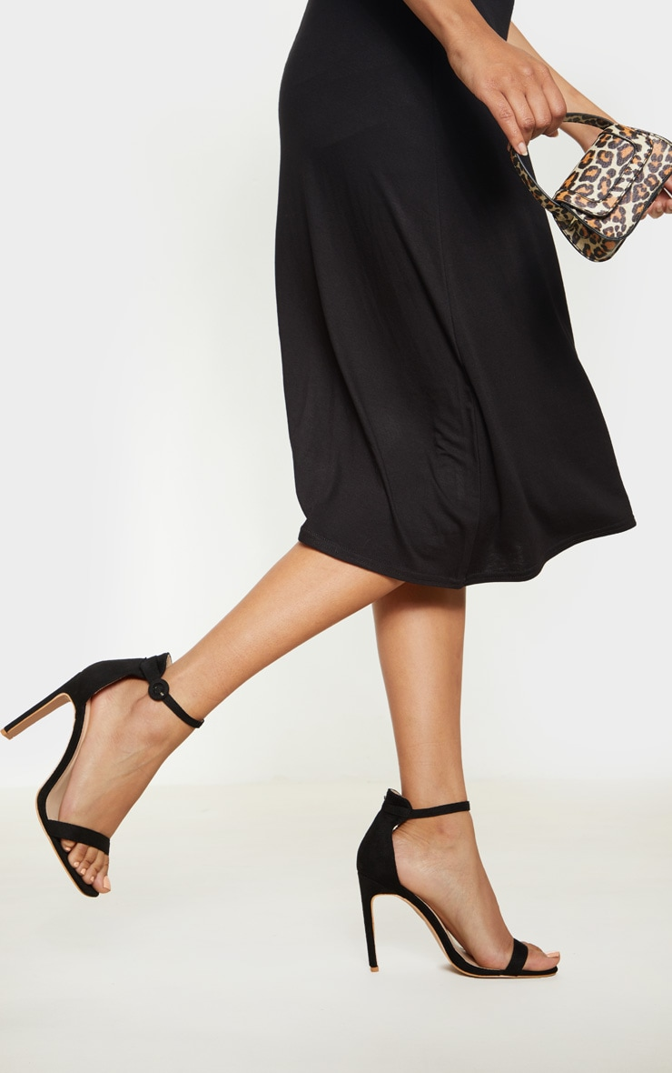 Black Faux Suede Flat Barely There Heel 1