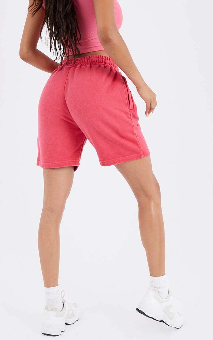 Neon Pink Washed Sweat Runner Shorts 3