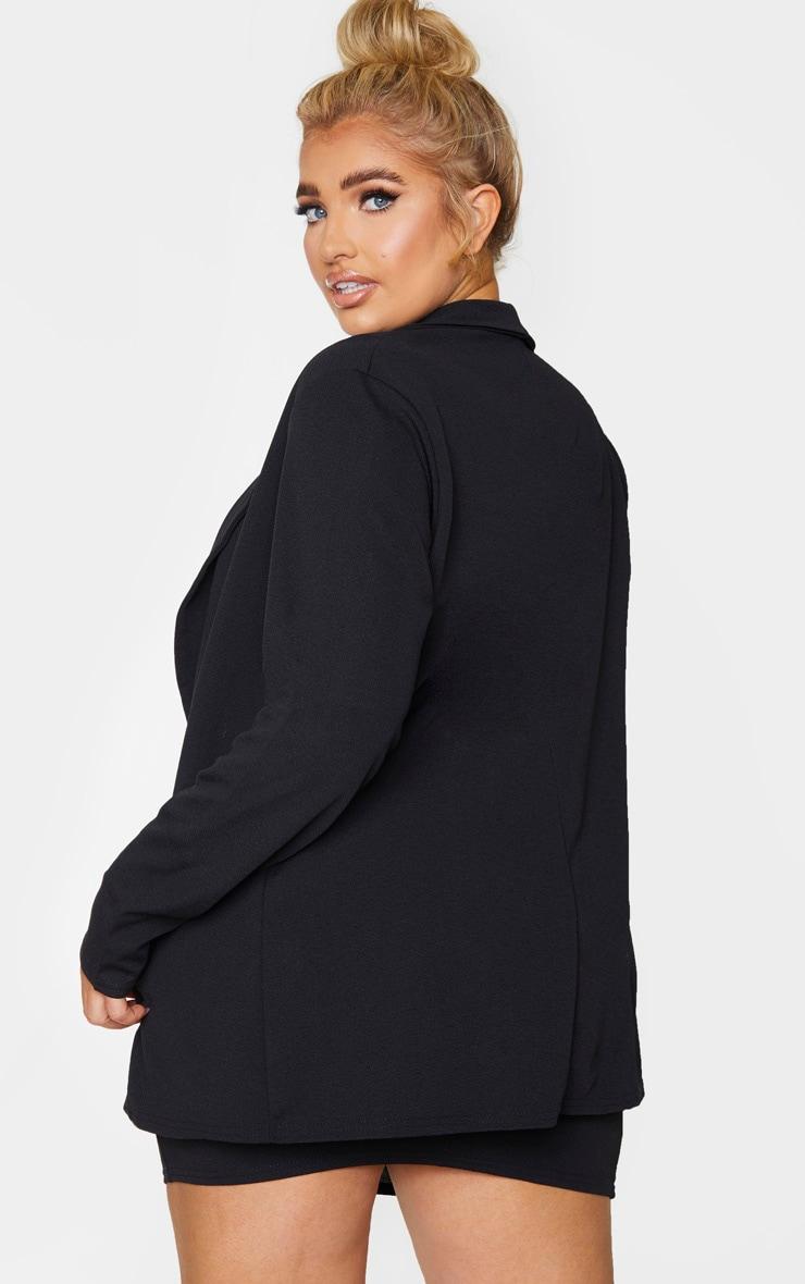 Plus Black Oversized Button Detail Blazer 3