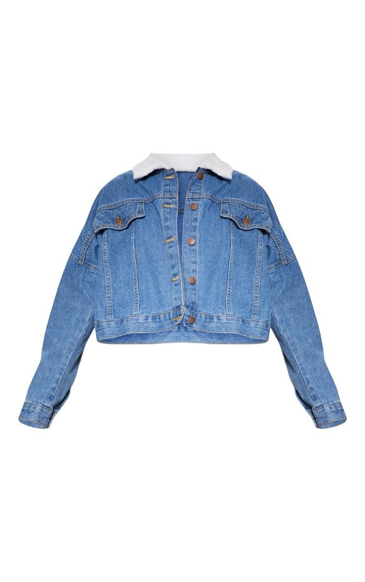 Mid Wash Borg Collar  Denim Jacket 4