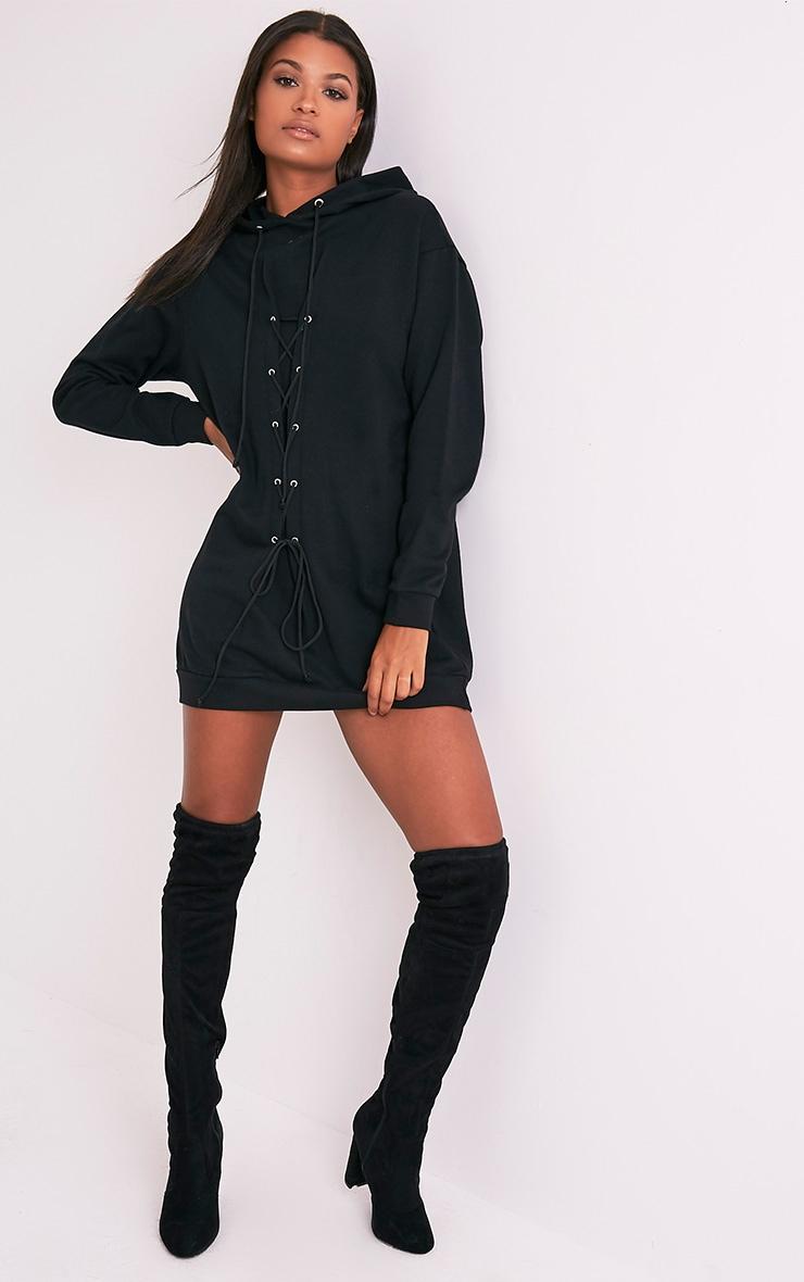 Bexie robe sweat noire à lacets et à capuche 5