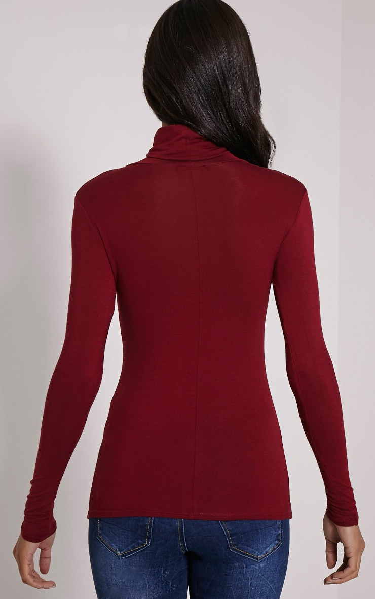 Basic Wine Long Sleeve Roll Neck Top 2