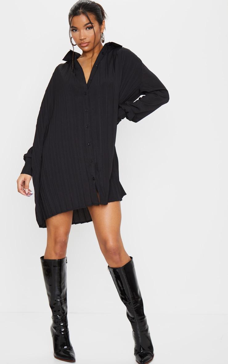 Black Pleated Oversized Shirt Dress 1