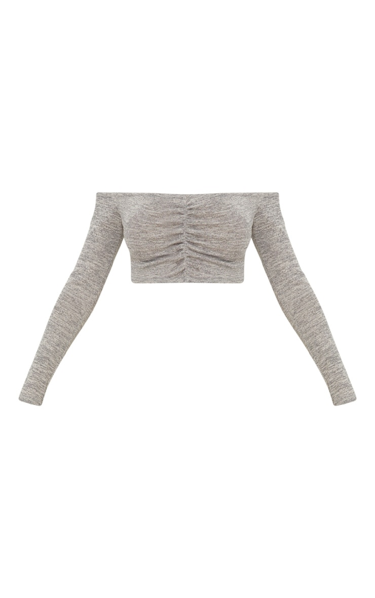 Grey Ruched Front Knit Top 3