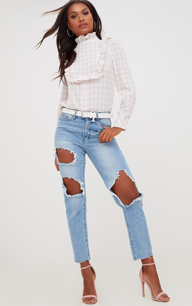 Pink Check Frill Neck Shirt 4
